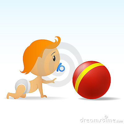 Cartoon Cute Baby Crawling To Red Ball Royalty Free Stock Photography - Image: 19002357