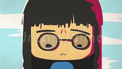 Cartoon Cute Girl Portrait Crying And Whiping Her Tears By Her Hand Asian Stressed Anime Girl With Glasses Feeling Sad