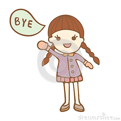 Cartoon cute girl saying bye