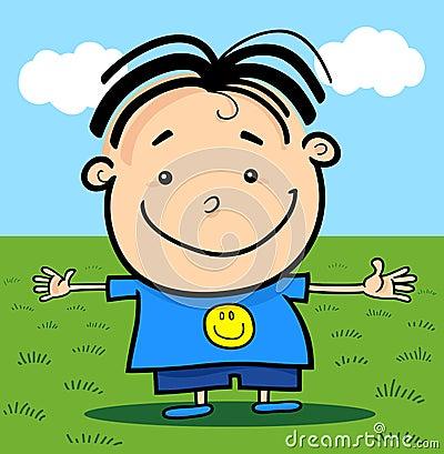 Cartoon Cute Little Happy Boy