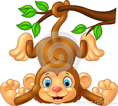 Free Cartoon Cute Monkey Hanging On Tree Branch Royalty Free Stock Photography - 55844767