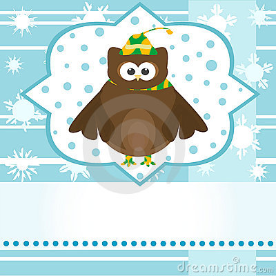 Cartoon cute owl winter greetings card vector