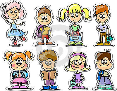 Cartoon cute schoolchildren,vector