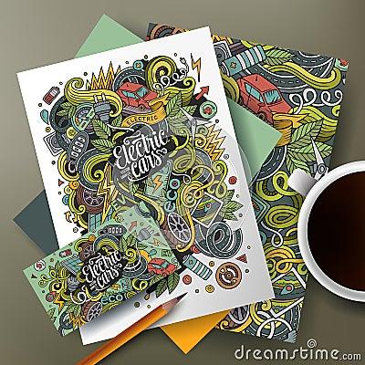 Free Cartoon Cute Vector Doodles Eco Cars Corporate Identity Set Stock Image - 89635841