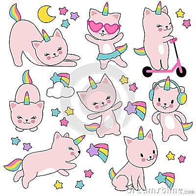 Free Cartoon Cute White Cat Unicorns. Funny Caticorn Kittens Vector Set Royalty Free Stock Photos - 118698538