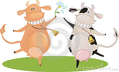 Cartoon dancing cow