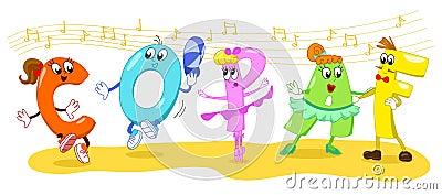Cartoon dancing letters vector