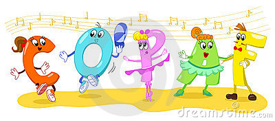 Cartoon dancing letters