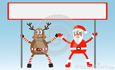 Cartoon deer and Santa-Claus