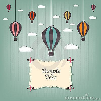cartoon design with hot air balloons