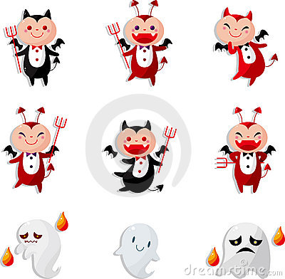 Cartoon devil icon card