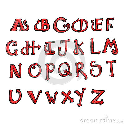 cartoon devil tail alphabet