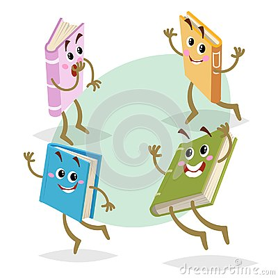 Free Cartoon Different Colors Funny Books Characters Set. Running, Jumping And Smiling Mascots. Back To School, Kid Education And Knowl Stock Image - 113638251