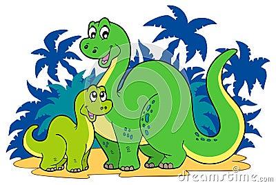 Cartoon dinosaur family