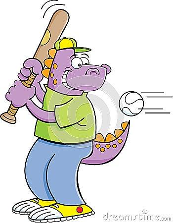 Cartoon dinosaur hitting a baseball