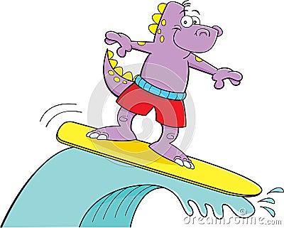 Cartoon dinosaur surfing