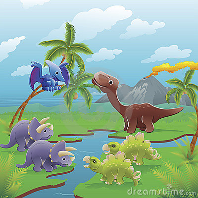 Free Cartoon Dinosaurs Scene. Stock Photo - 19465430