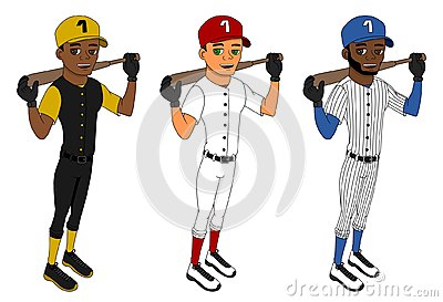 Cartoon of diverse baseball players