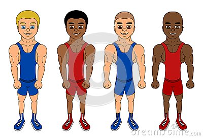 Cartoon of diverse fighters/wrestlers