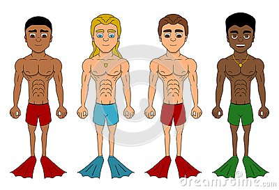 Cartoon of diverse men with flippers
