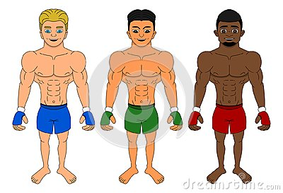 Cartoon of diverse MMA fighters