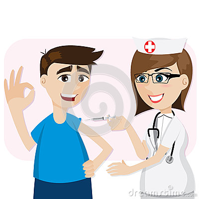 Cartoon doctor vaccination for patient