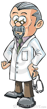 Cartoon doctor in white coat.