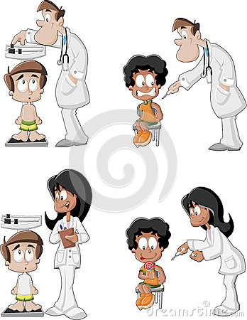 Cartoon doctors checking boy s