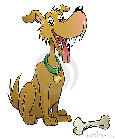 Cartoon dog with bone