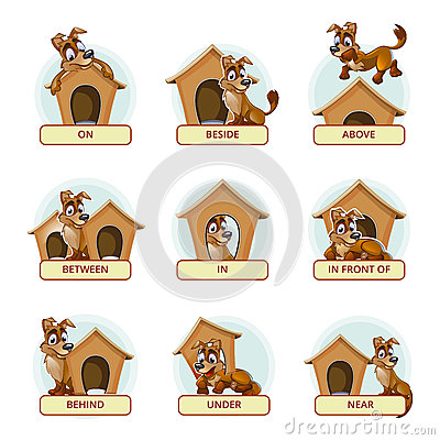 Cartoon dog in different poses to illustrate English prepositions of ...