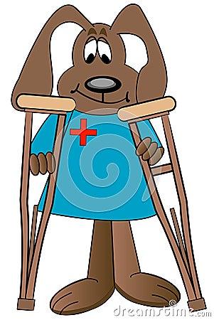Stock Images: Cartoon dog holding crutches. Image: 4589354