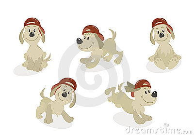Cartoon Dog Mascot Set
