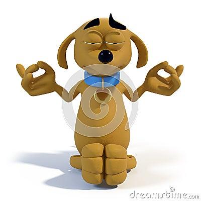 Cartoon dog meditating