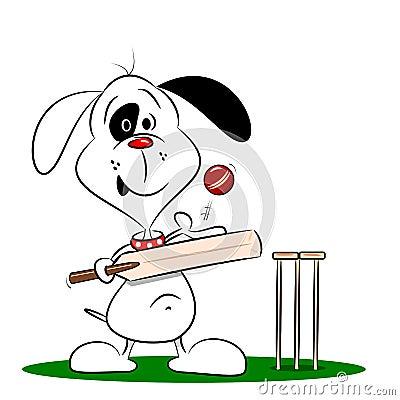 A cartoon dog playing cricket