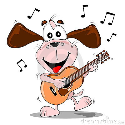 A cartoon dog playing a guitar