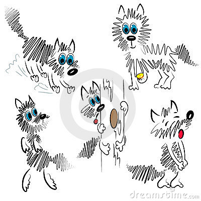 Cartoon dog set. graphic dog illustration