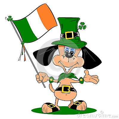 A cartoon dog on St Patricks day