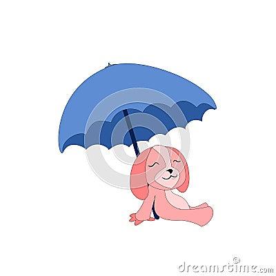Cartoon dog with sunshade