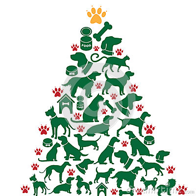 Free Cartoon Dogs And Cats Christmas Tree Stock Photo - 44410840
