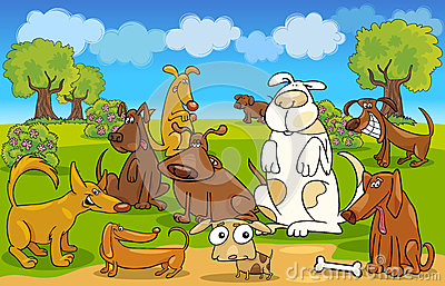 Cartoon dogs on the meadow