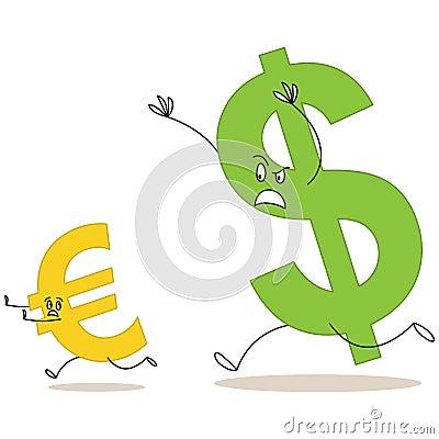 Cartoon dollar sign chasing euro sign