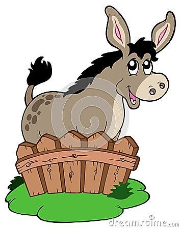 Free Cartoon Donkey Behind Fence Royalty Free Stock Photography - 14778877