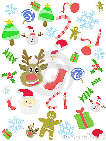 Cartoon doodle Christmas seamless background
