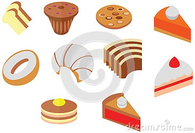 Cartoon doodle color cafe cookie cake cute dessert flat icon Vector Illustration