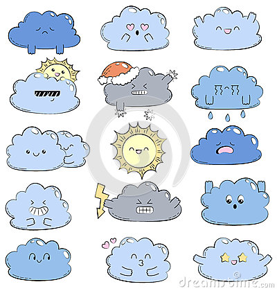 Cartoon doodle comic illustration with cute clouds. Different emotions. Collection of weather icons. Emoticons for site Vector Illustration
