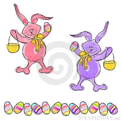 Cartoon Doodle Easter Bunny Eggs