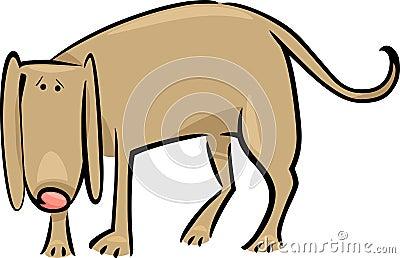 Cartoon doodle of sad dog