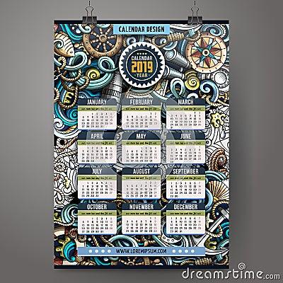 Free Cartoon Doodles Nautical 2019 Year Calendar Template Stock Image - 124332321