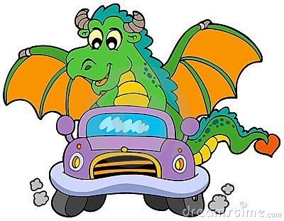 Cartoon dragon driving car