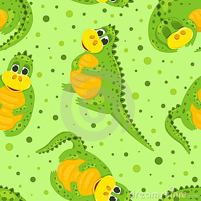 Cartoon dragon seamless pattern.